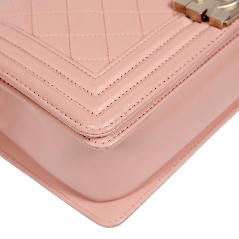 ba58567e6052 Women's Chanel Blush Pink Leather Medium Boy Bag For Sale