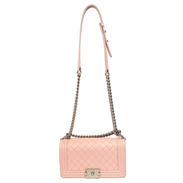 63ea2568e925 Chanel Blush Pink Leather Medium Boy Bag For Sale 7
