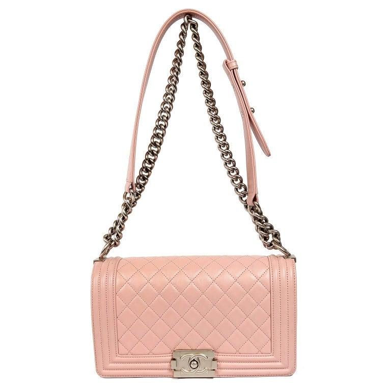 53967632a716 Chanel Blush Pink Leather Medium Boy Bag For Sale 8