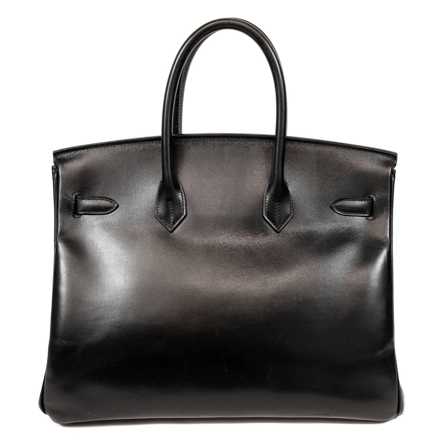 Hermès Black Box Calf 35 cm Birkin Bag with Palladium Hardware at 1stdibs dc6972f326d3b