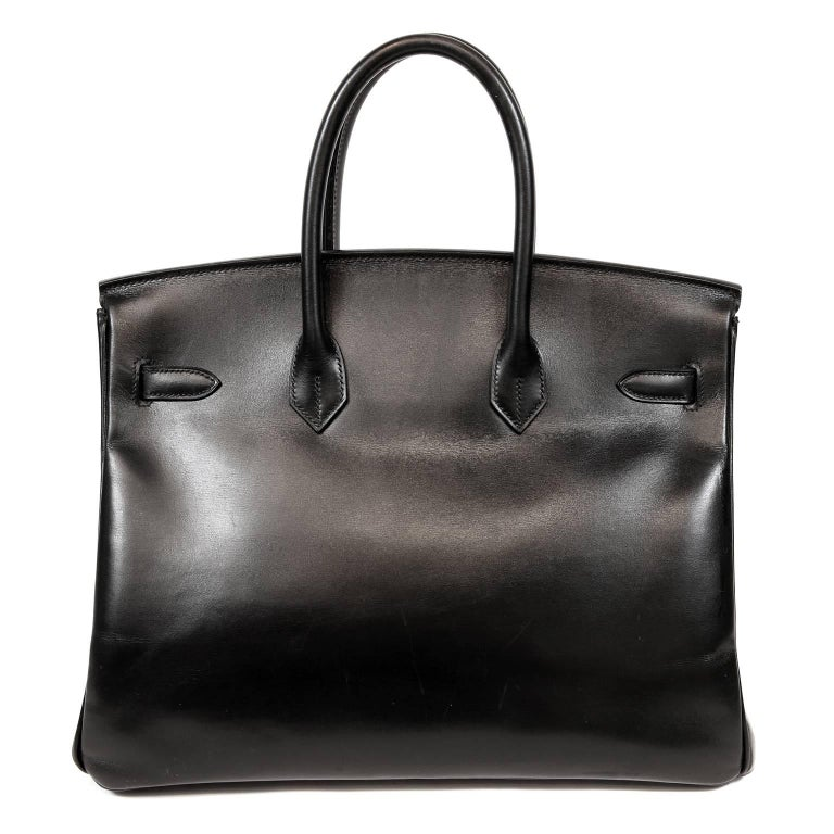 Hermès Black Box Calf  35 cm Birkin- MINT condition In classic Hermès Box Calf leather, this strikingly beautiful Black Birkin is a fantastic find.  The condition is nearly pristine and the combination of Black Box Calf with Palladium hardware is