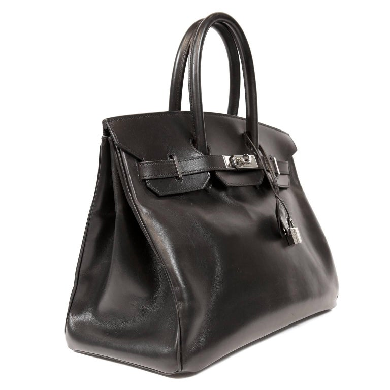 Hermès Black Box Calf  35 cm Birkin Bag with Palladium Hardware In Excellent Condition For Sale In Palm Beach, FL
