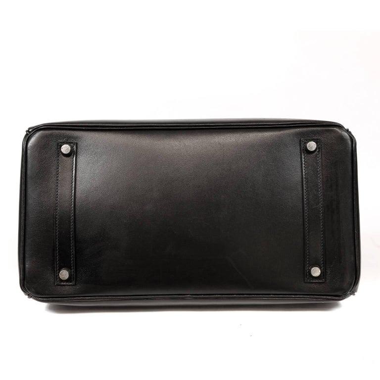 Women's Hermès Black Box Calf  35 cm Birkin Bag with Palladium Hardware For Sale
