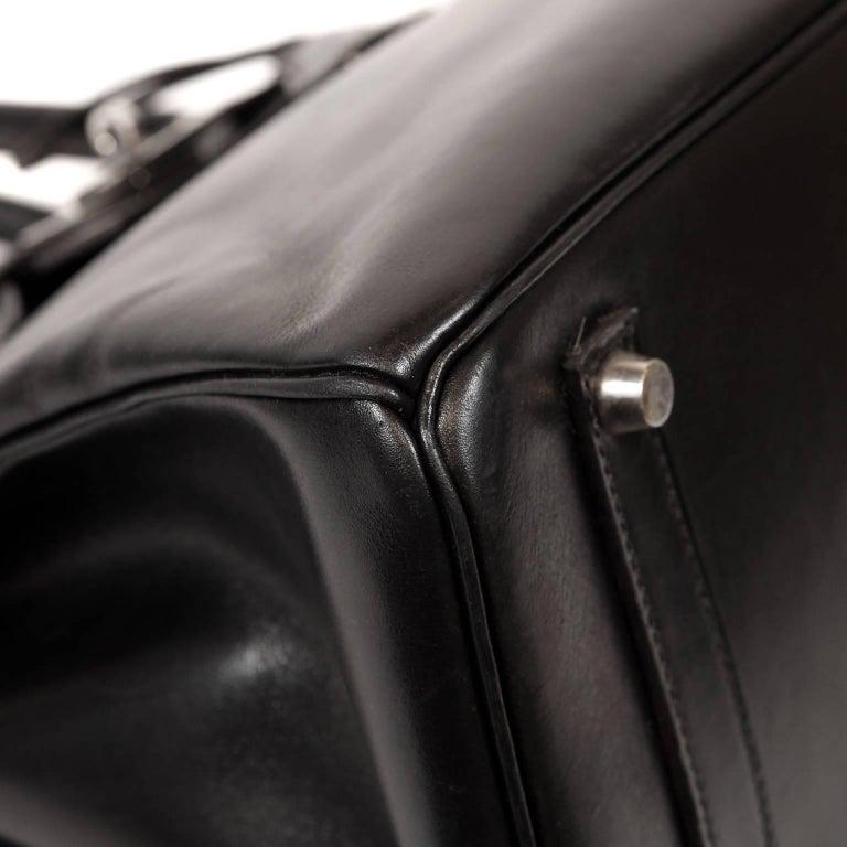 Hermès Black Box Calf  35 cm Birkin Bag with Palladium Hardware For Sale 1