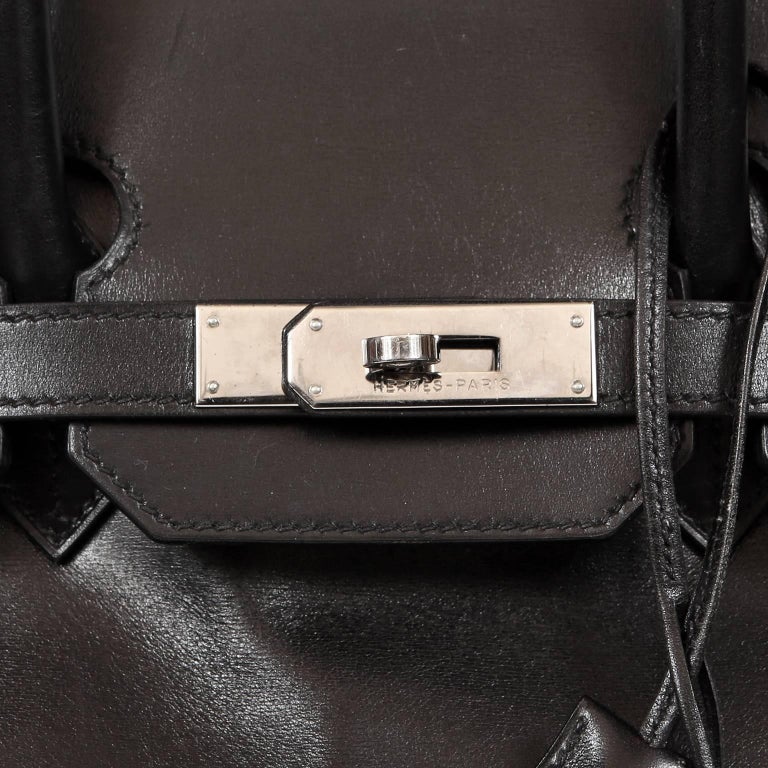 Hermès Black Box Calf  35 cm Birkin Bag with Palladium Hardware For Sale 2