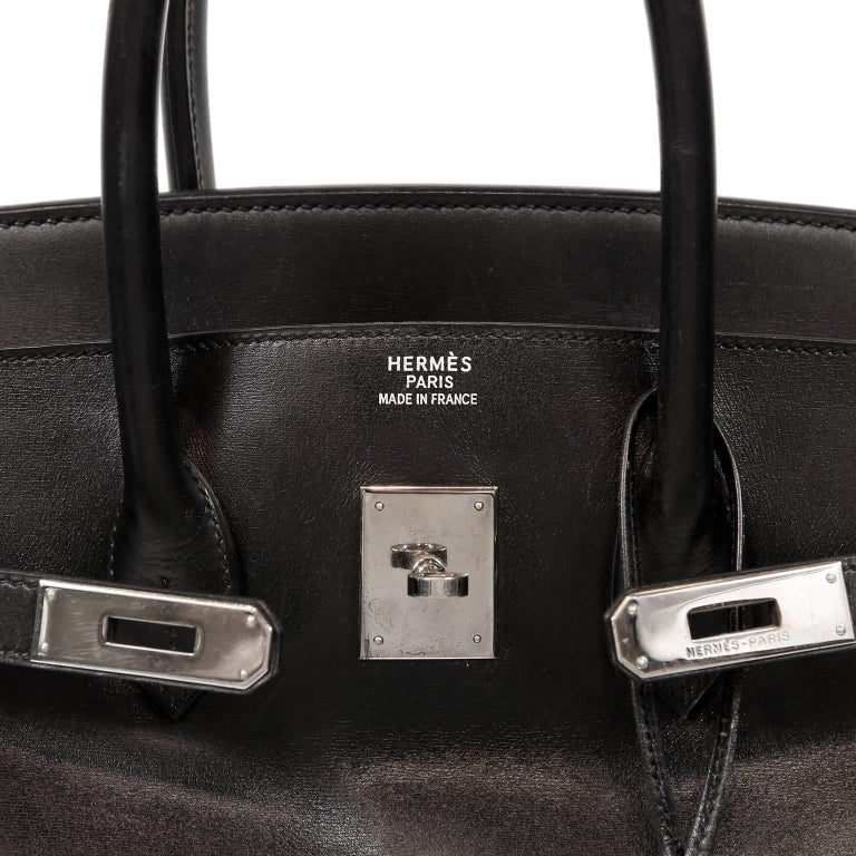Hermès Black Box Calf  35 cm Birkin Bag with Palladium Hardware For Sale 3