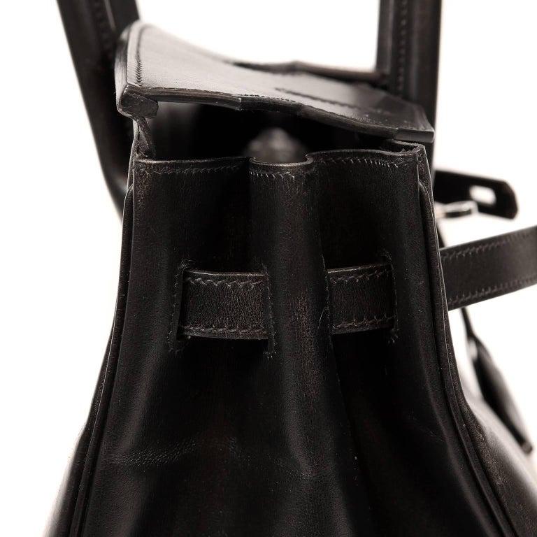 Hermès Black Box Calf  35 cm Birkin Bag with Palladium Hardware For Sale 4