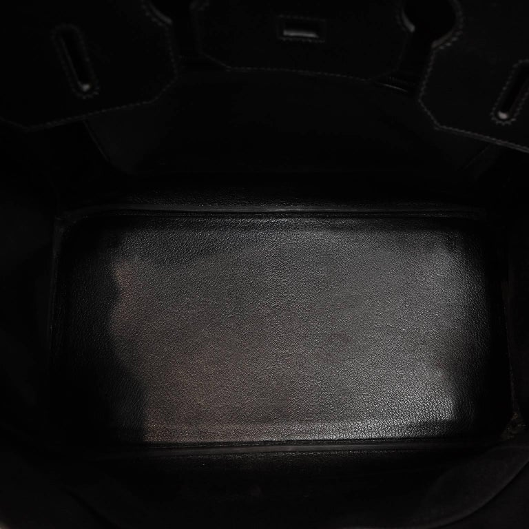 Hermès Black Box Calf  35 cm Birkin Bag with Palladium Hardware For Sale 7