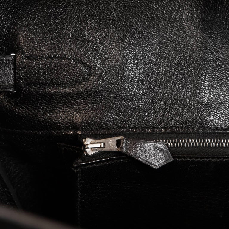 Hermès Black Box Calf  35 cm Birkin Bag with Palladium Hardware For Sale 8