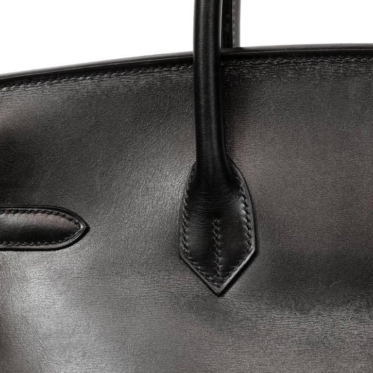 Hermès Black Box Calf  35 cm Birkin Bag with Palladium Hardware For Sale 11