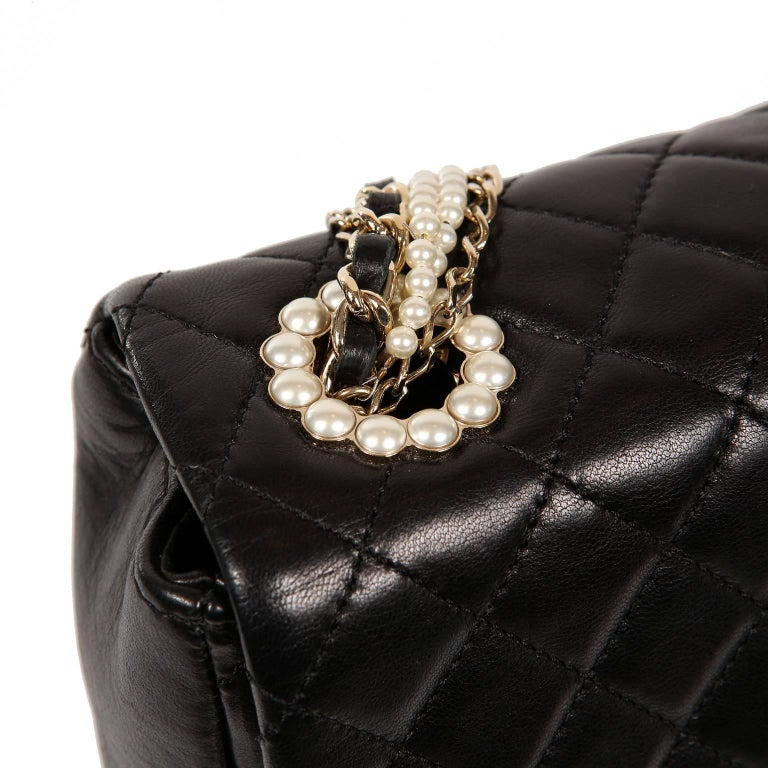 ec5aa25ec397 Chanel Black Lambskin Westminster Pearl Flap Bag- Medium at 1stdibs