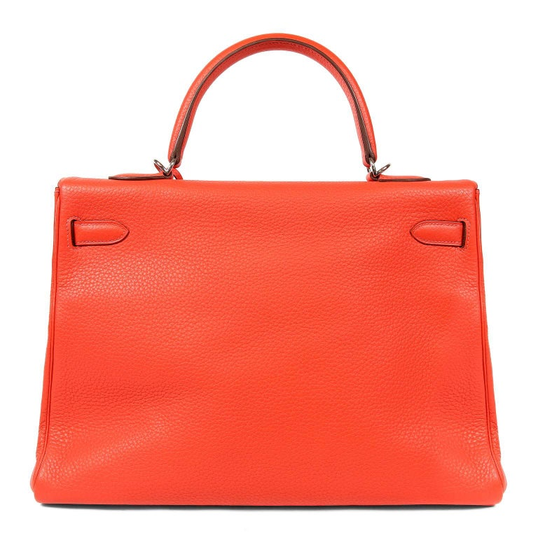 Hermès Rose Jaipur Togo 35 cm Kelly- Pristine Condition Hermès bags are considered the ultimate luxury item worldwide.  Each piece is handcrafted with waitlists that can exceed a year or more.  The ladylike Kelly is classic and refined, a beautiful