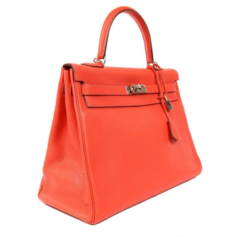 Red Hermès Rose Jaipur Togo 35 cm Kelly Bag For Sale