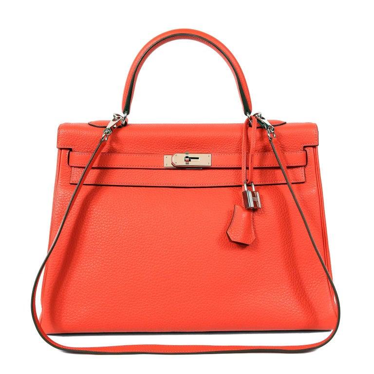 Hermès Rose Jaipur Togo 35 cm Kelly Bag For Sale 13