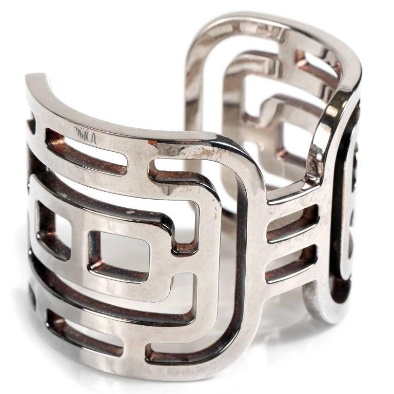 Hermès Sterling Silver Aztec Cuff Bracelet  For Sale 1