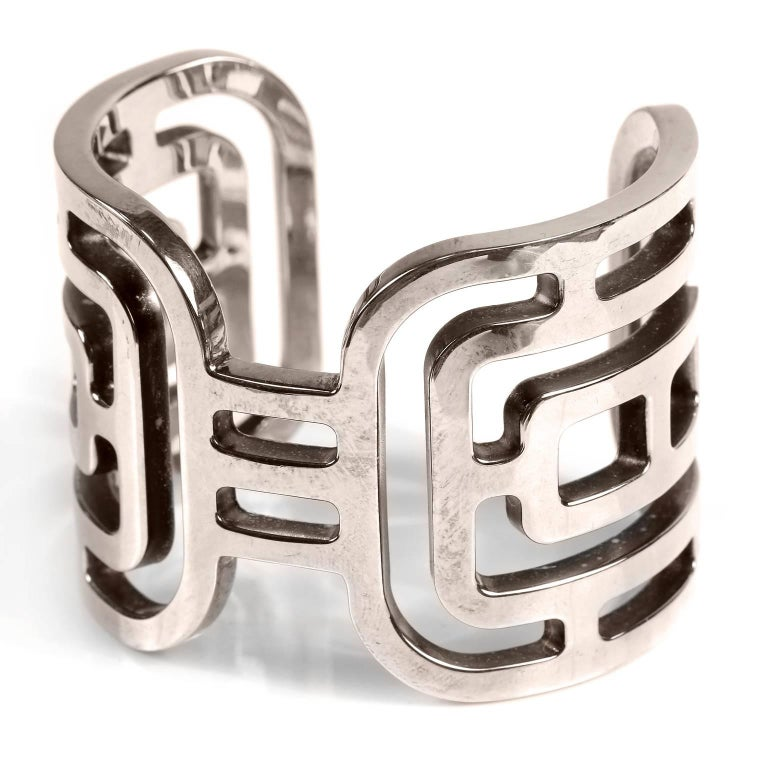 Hermès Sterling Silver Aztec Cuff Bracelet  For Sale 2