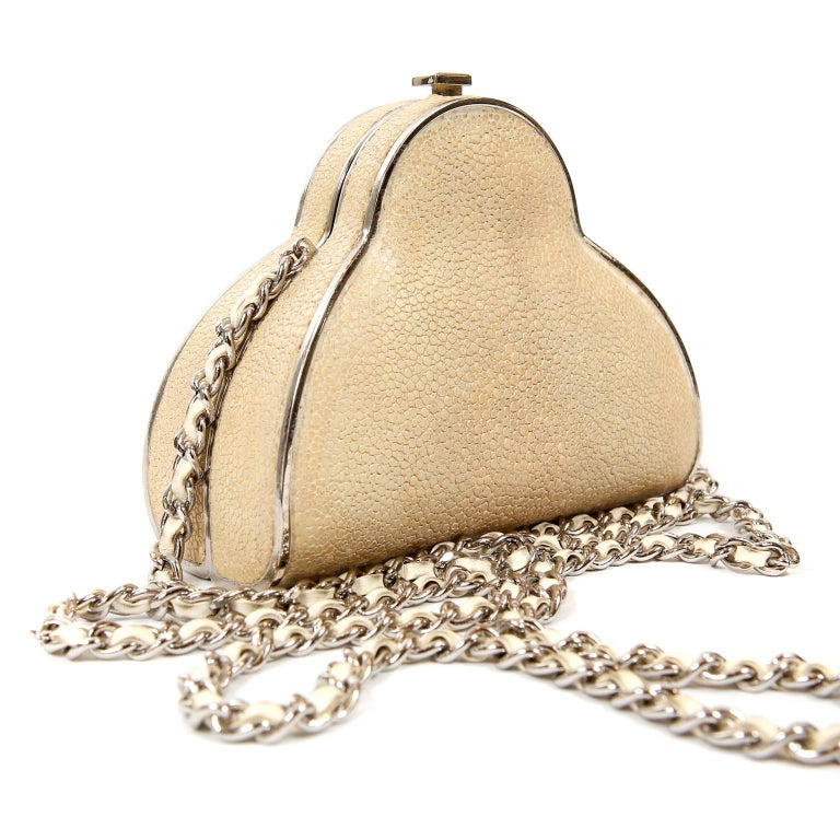 Chanel Beige Stingray Cross Body Evening Bag In Excellent Condition For Sale In Palm Beach, FL