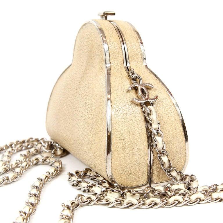 Women's Chanel Beige Stingray Cross Body Evening Bag For Sale