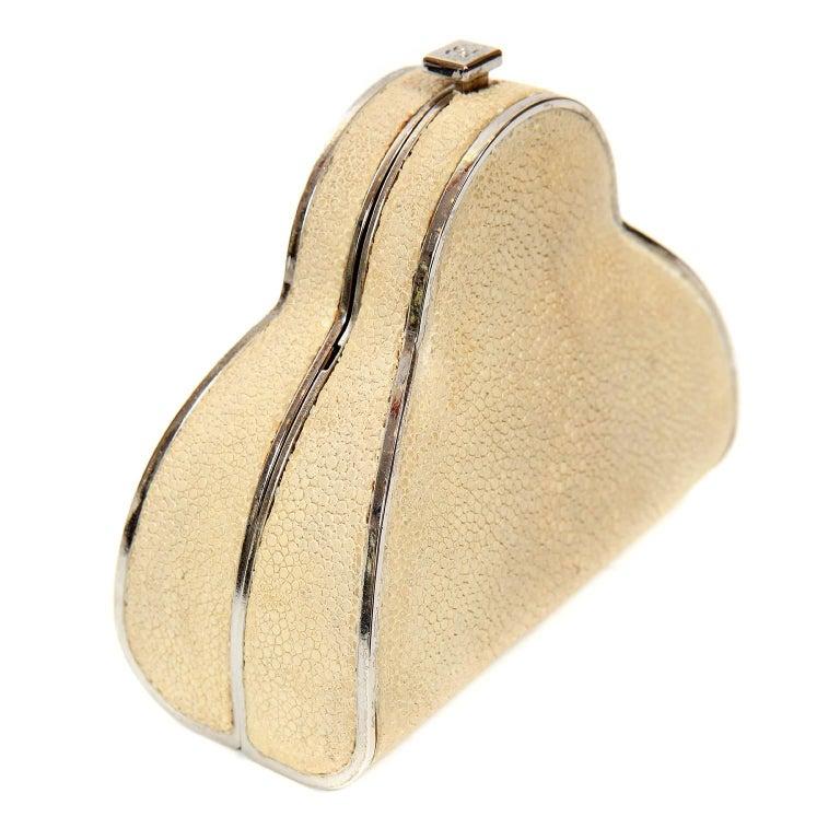 Chanel Beige Stingray Cross Body Evening Bag For Sale 4