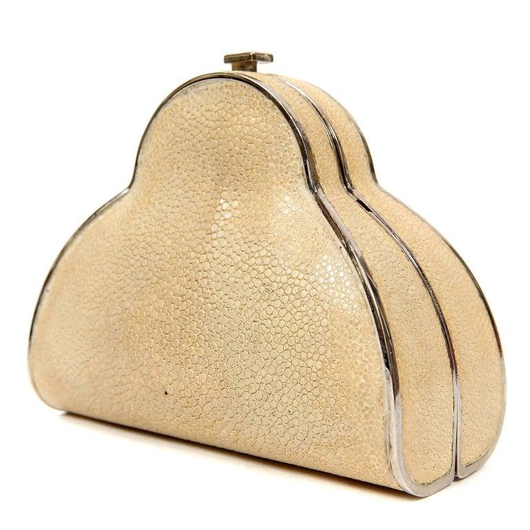 Chanel Beige Stingray Cross Body Evening Bag For Sale 5