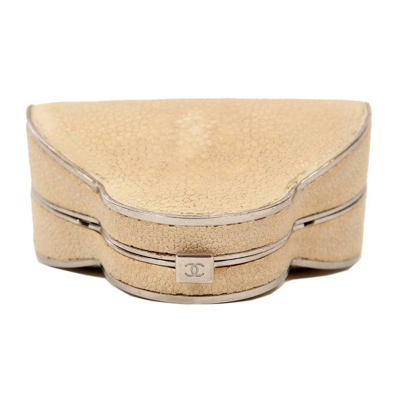 Chanel Beige Stingray Cross Body Evening Bag For Sale 6