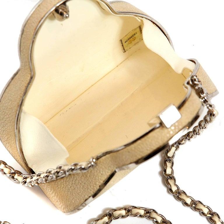 Chanel Beige Stingray Cross Body Evening Bag For Sale 8