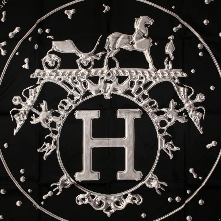 Hermès Black VIF Argent 90 cm Silk Scarf 3