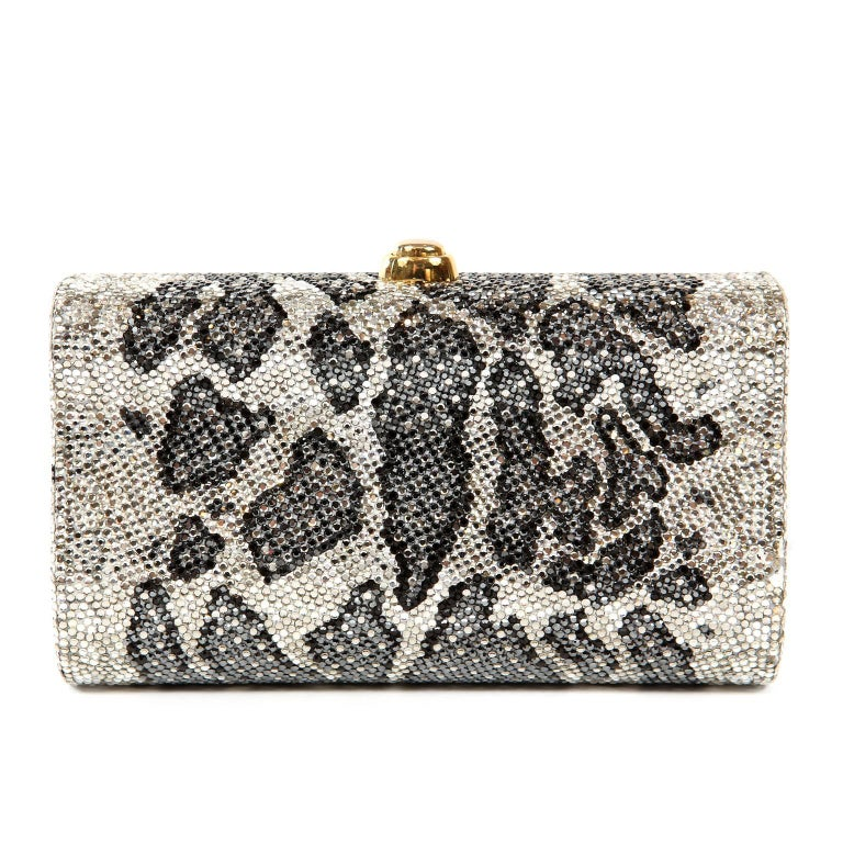 Judith Leiber Leopard Crystal Minaudiere Evening Bag- Pristine Carried by celebrities and other fashion elites, Judith Leiber's crystal minaudieres are legendary.   Structured small clutch is covered in white, black and grey crystals creating a