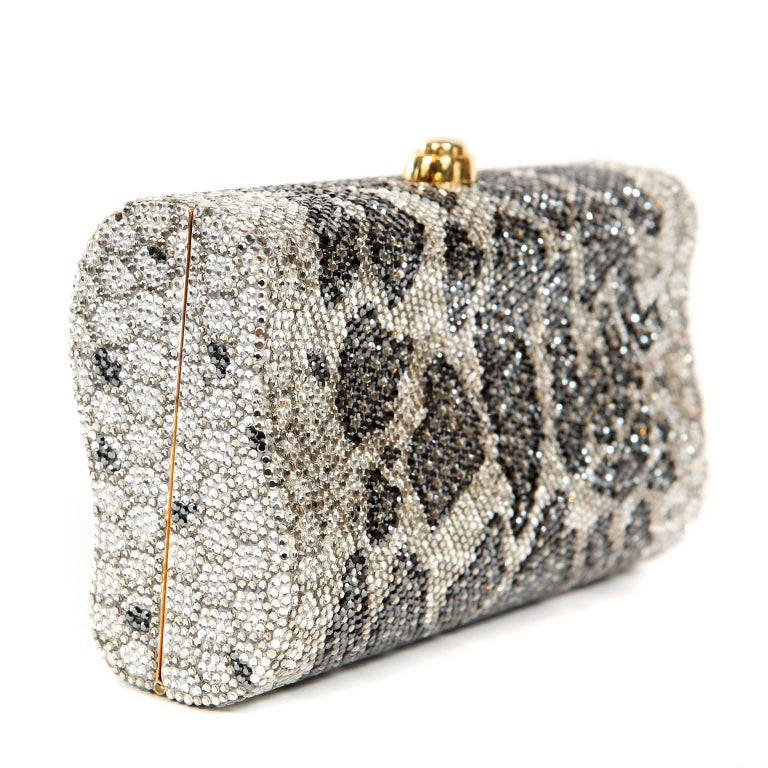 Beige Judith Leiber Leopard Crystal Minaudiere Evening Bag For Sale