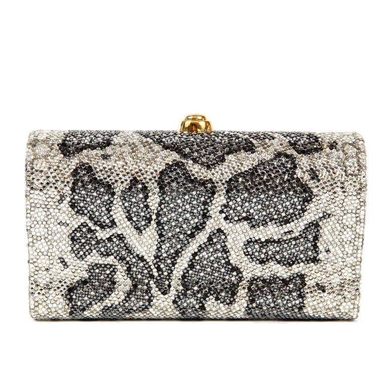 Judith Leiber Leopard Crystal Minaudiere Evening Bag In Excellent Condition For Sale In Palm Beach, FL