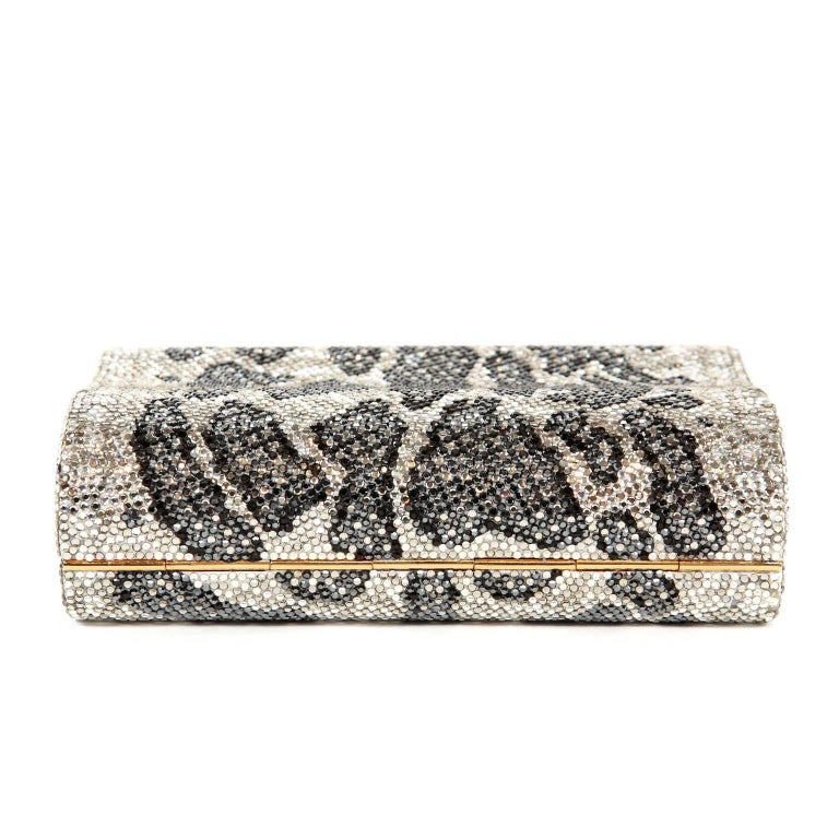 Judith Leiber Leopard Crystal Minaudiere Evening Bag For Sale 1