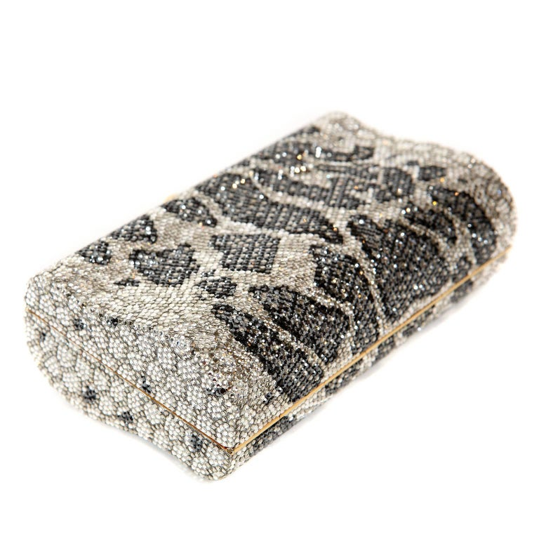 Judith Leiber Leopard Crystal Minaudiere Evening Bag For Sale 3