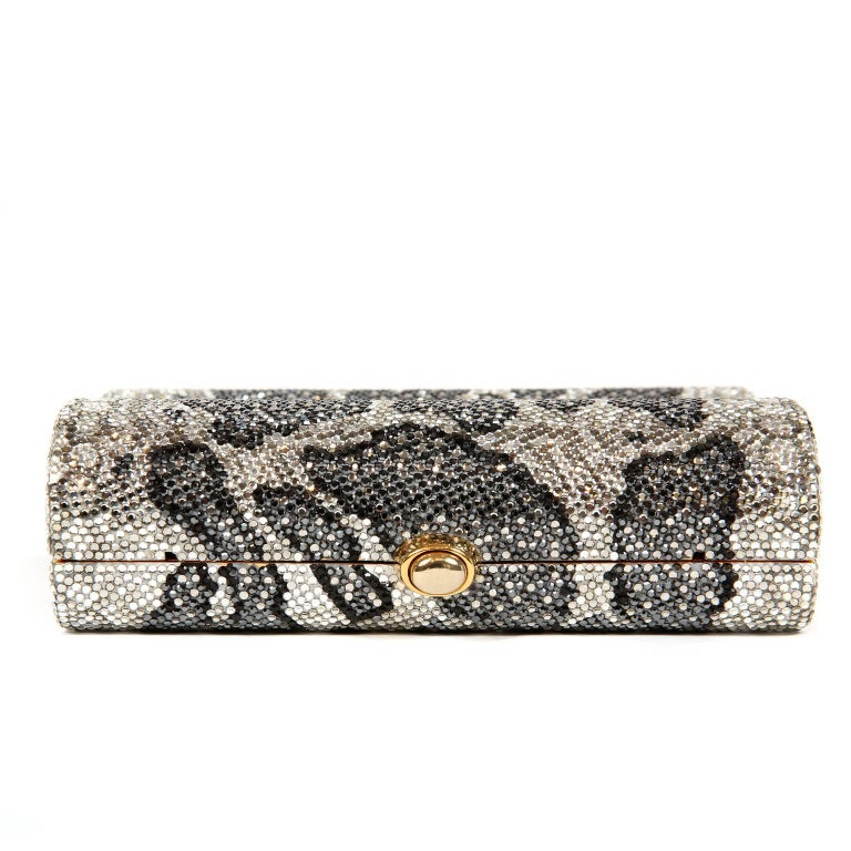 Judith Leiber Leopard Crystal Minaudiere Evening Bag For Sale 5