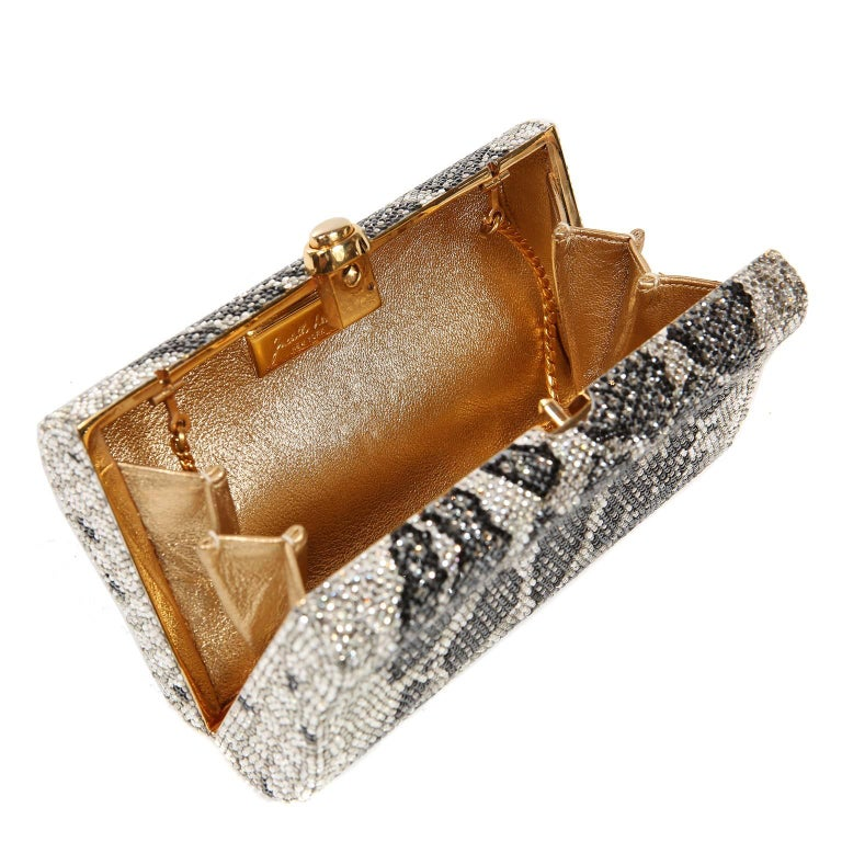 Judith Leiber Leopard Crystal Minaudiere Evening Bag For Sale 6