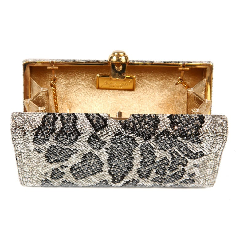 Judith Leiber Leopard Crystal Minaudiere Evening Bag For Sale 7