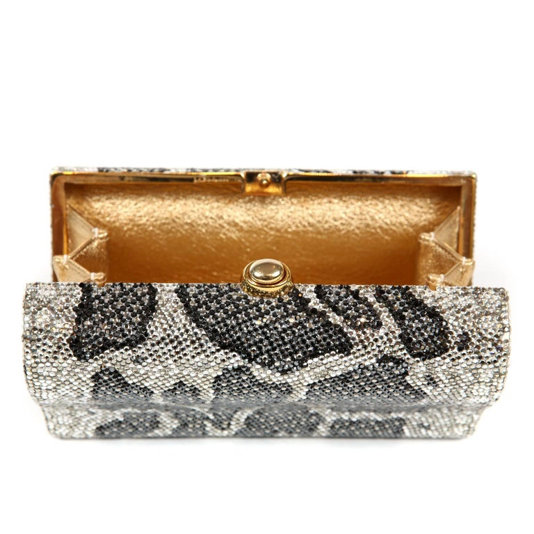 Judith Leiber Leopard Crystal Minaudiere Evening Bag For Sale 8