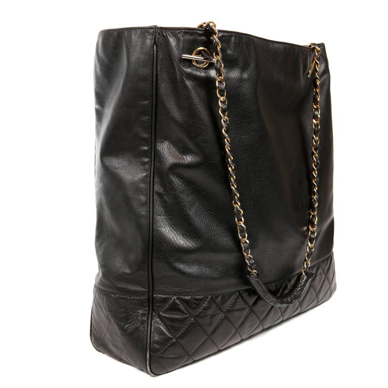 Chanel Vintage Black Leather Large Tote In Excellent Condition For Sale In Palm Beach, FL