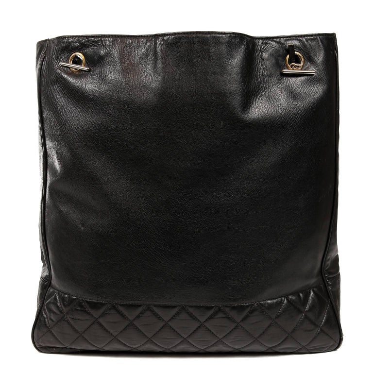 Women's Chanel Vintage Black Leather Large Tote For Sale