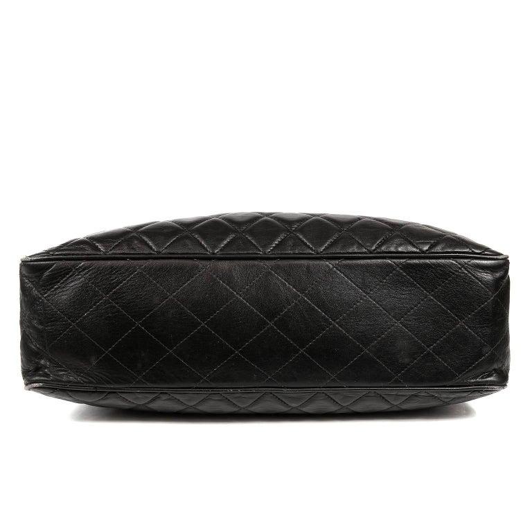 Chanel Vintage Black Leather Large Tote For Sale 1