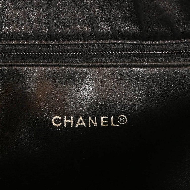 Chanel Vintage Black Leather Large Tote For Sale 2