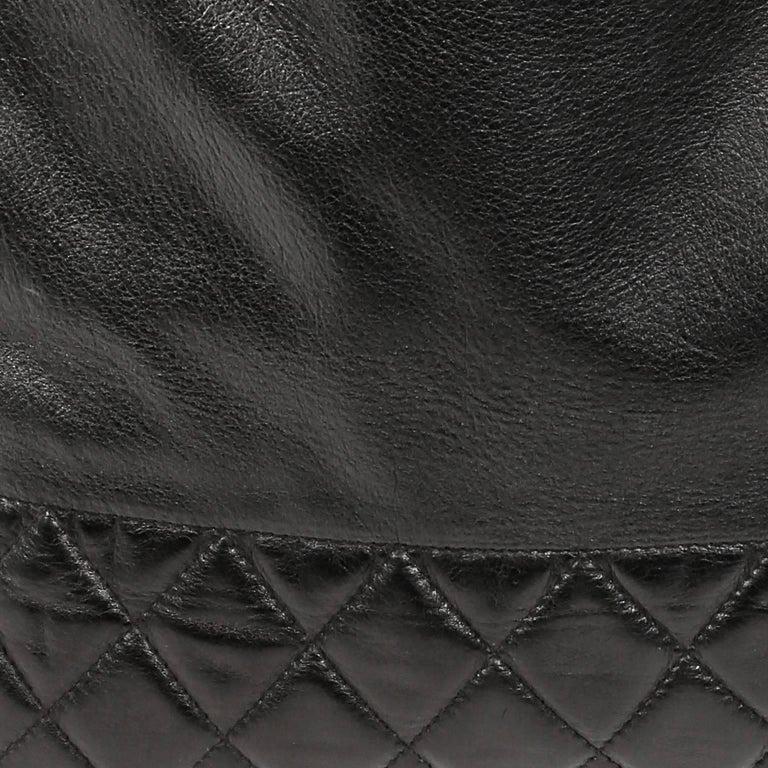 Chanel Vintage Black Leather Large Tote For Sale 3