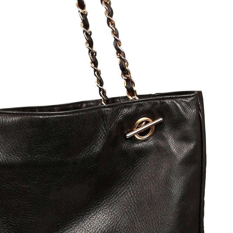 Chanel Vintage Black Leather Large Tote For Sale 4
