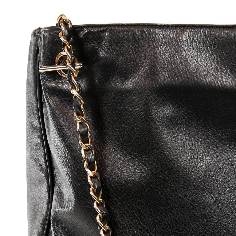 Chanel Vintage Black Leather Large Tote For Sale 5