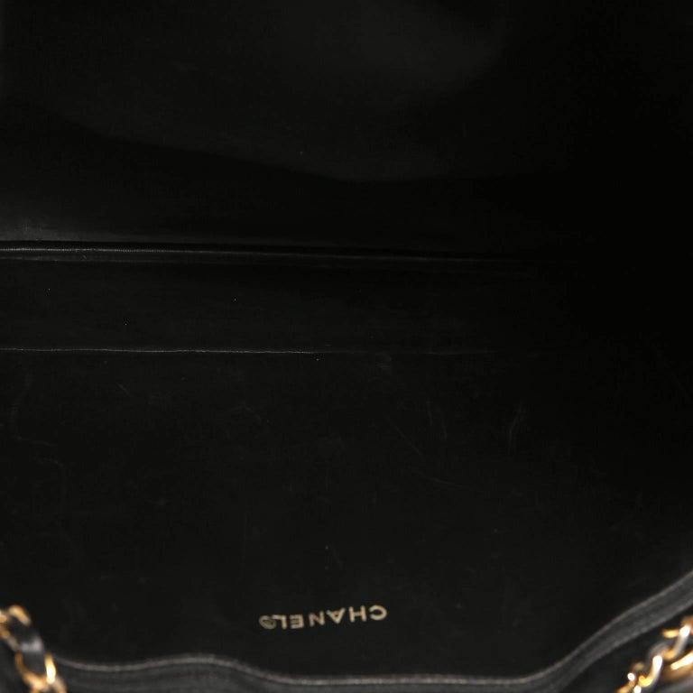 Chanel Vintage Black Leather Large Tote For Sale 7
