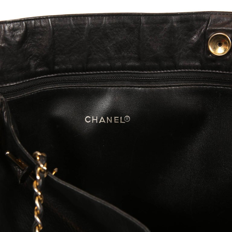 Chanel Vintage Black Leather Large Tote For Sale 8