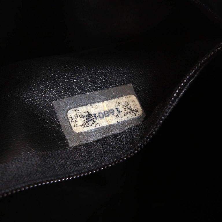Chanel Vintage Black Leather Large Tote For Sale 10