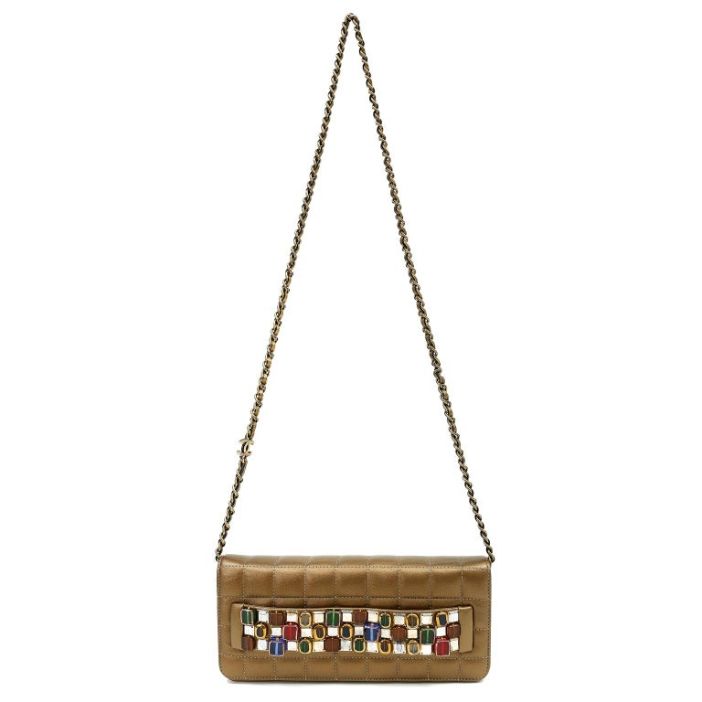Chanel Paris Byzance Bronze Leather Jeweled Evening Bag For Sale 7