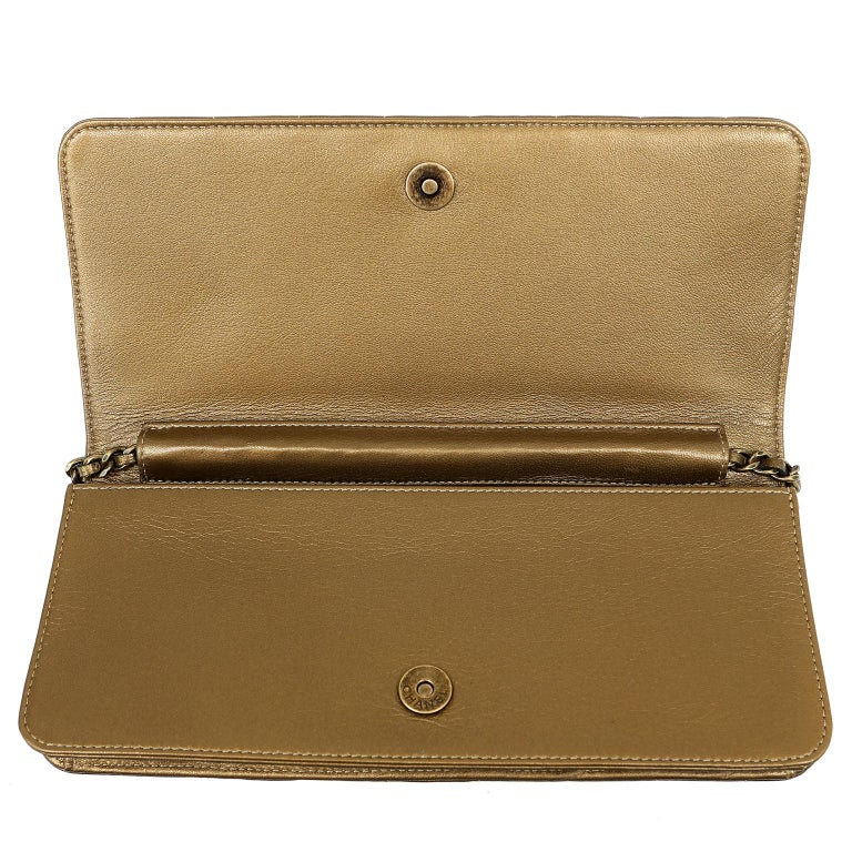 Chanel Paris Byzance Bronze Leather Jeweled Evening Bag For Sale 8