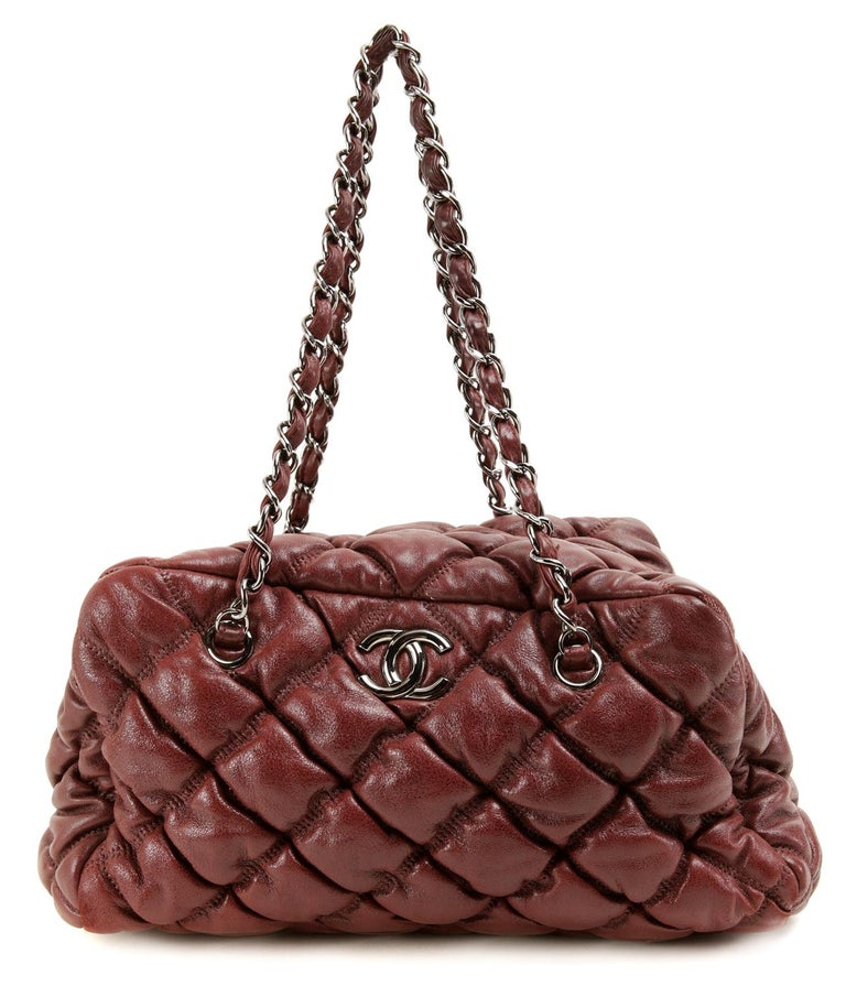 Brown Chanel Dark Red Leather Bubble Quilt Bag For Sale