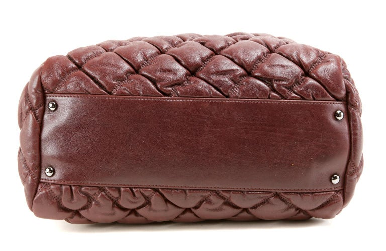 Chanel Dark Red Leather Bubble Quilt Bag In Excellent Condition For Sale In Palm Beach, FL